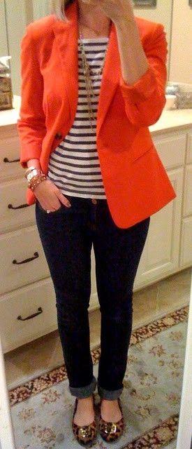 orange blazer outfit ideas | Fashion, Style, Work outf