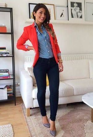 Image result for orange blazer outfit | Cute work outfits, Simple .