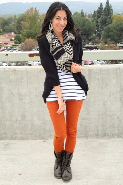Stripes and burnt-orange pair perfectly! | Orange pants outfit .
