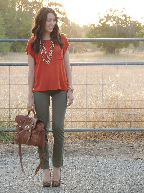 My New Favorite Outfit | Olive green pants outfit, Orange top .