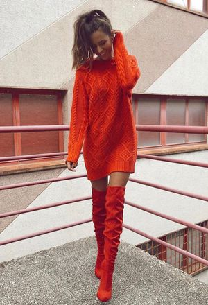 How to wear orange boots | Orange boots, Orange boots outfit ideas .