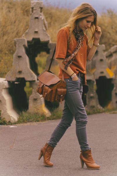 Orange shirt, gray cords, ankle boots, yeah! | Orange blouses .
