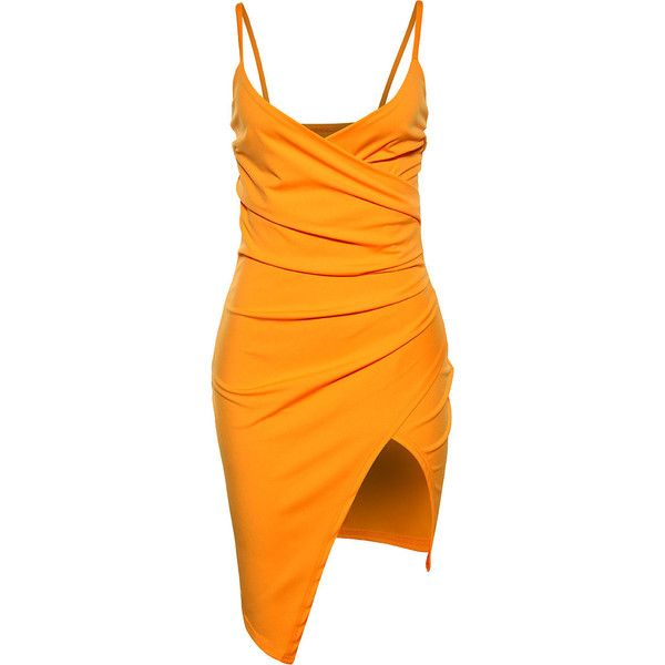 Asymmetric Hem Spaghetti Strap Ruched Plain Mini Bodycon Dress .