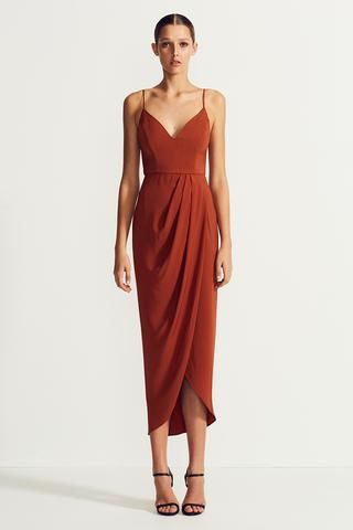 CORE COCKTAIL DRESS - RUST | Rust dress, Orange cocktail dresses .