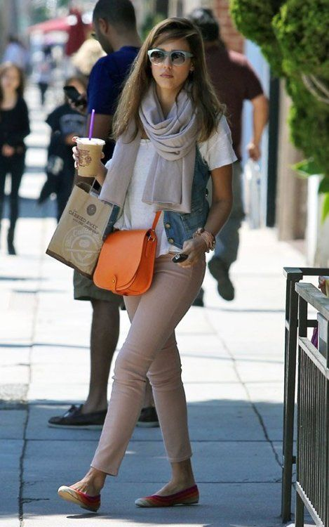 jessica alba | jessica alba | Fashion, Celebrity style, Orange handb