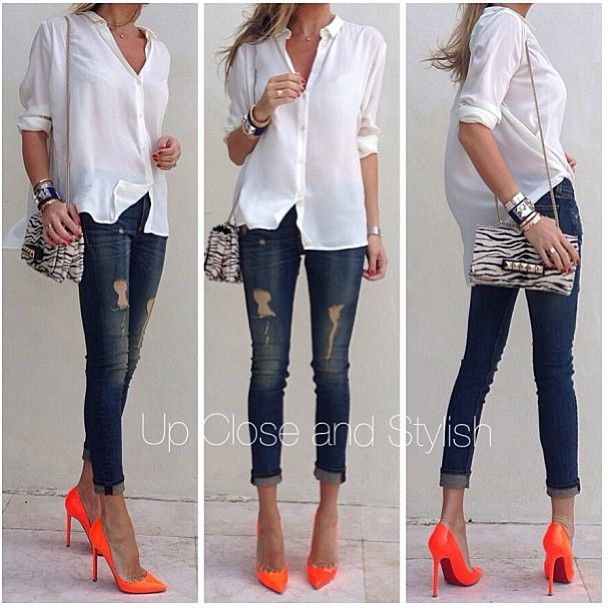White, Jeans, Zebra Print, Neon Orange Outfit | Fashion, Cute .