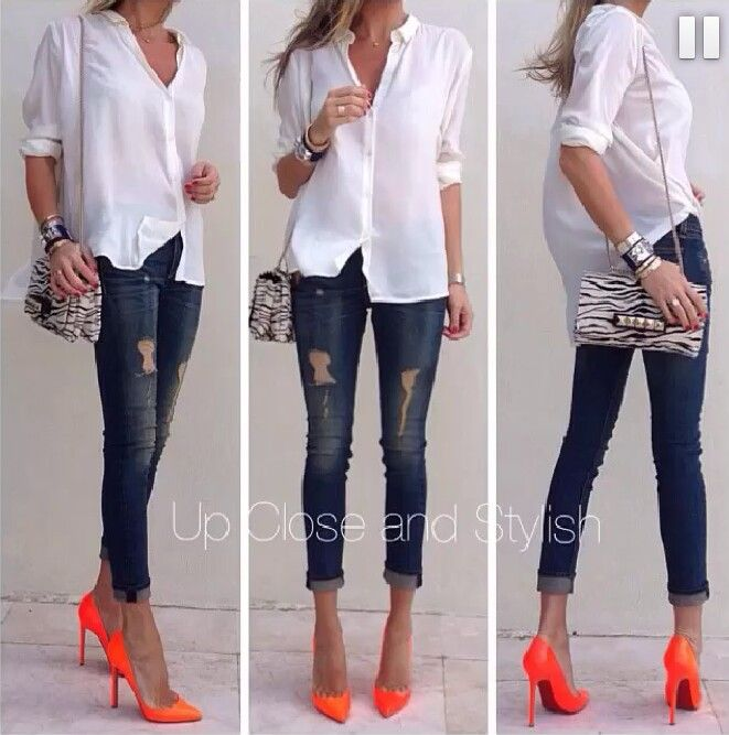 Neon orange heels | Cute outfits, Casual ch