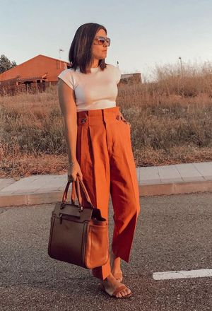 Outfit with casual outfits with zara orange pants | Chicisi