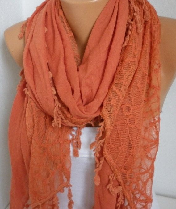 Burnt Orange Scarf Shawl Cowl Scarf Women by fatwoman, $28.00 .