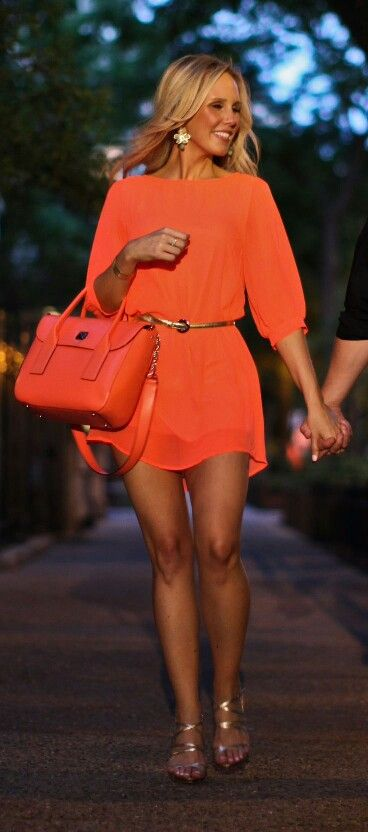 Orange shirt dress# summer outfit#♥ | Pretty summer dresses .