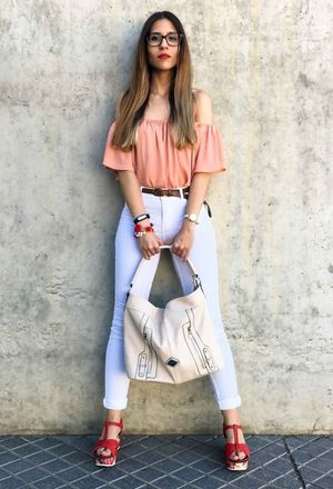 Outfit with casual outfits with carmela shoes orange heels | Chicisi