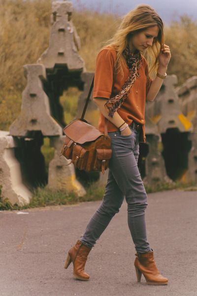 Orange shirt, gray cords, ankle boots, yeah! | Orange blouses .