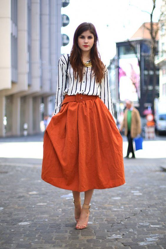 Orange is This Season's Hottest Color | Orange skirt outfit .