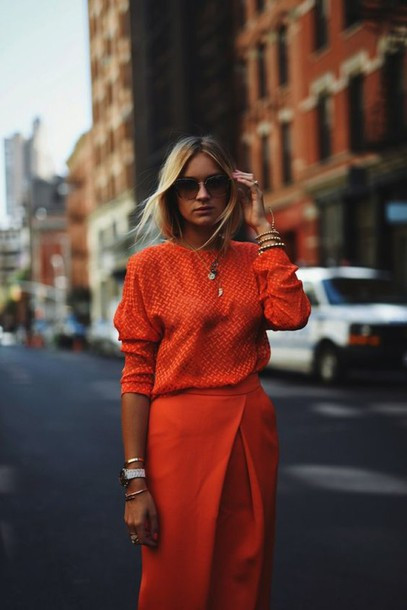 orange, blouse, blogger, outfit idea, office outfits, fine knit .