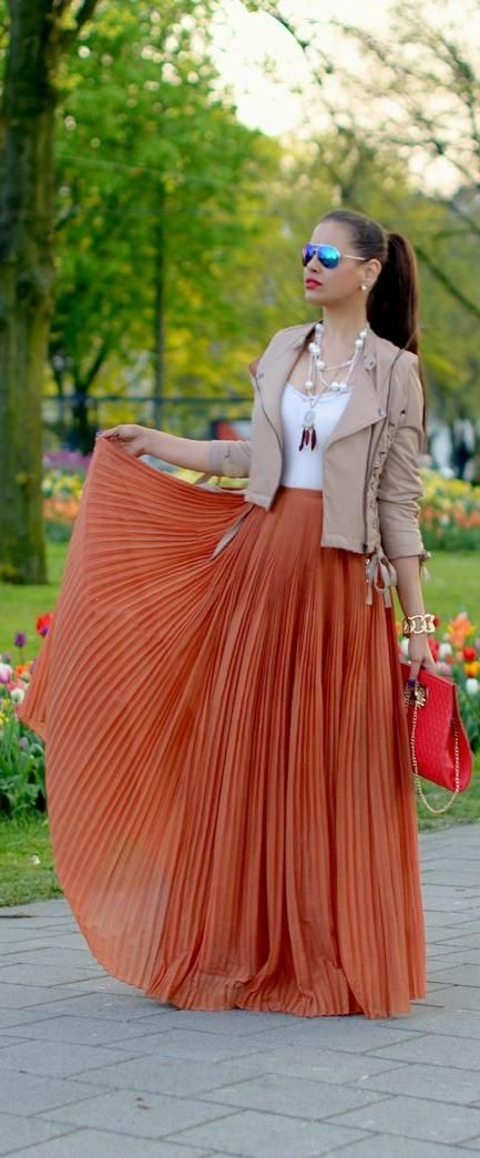 Pleated Skirt Outfit Idea #4. Wear a pleated maxi skirt with a .
