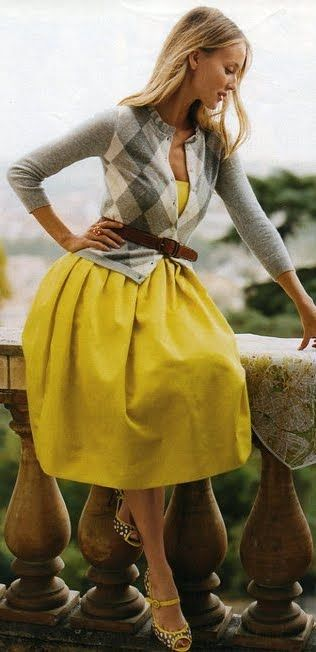 cardigan and yellow dress- love the idea of a dress with a belted .
