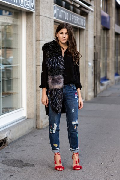 14 Best Outfit Ideas on How to Style Black Fluffy Fur Heels - FMag.c