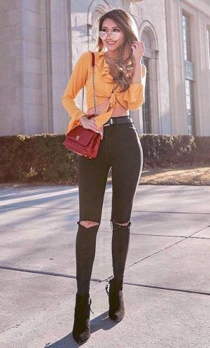 100+ Best Fall Fashion amazing outfit idea / boots + black rips + .