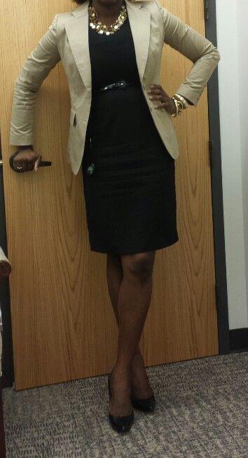 Work Outfit Khaki Blazer (NY&Co)-Black Sheath Dress (H&M) - Black .