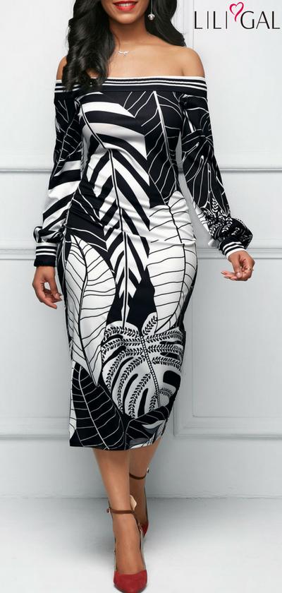 Off the Shoulder Leaf Print Black Sheath Dress #liligal #dresses .