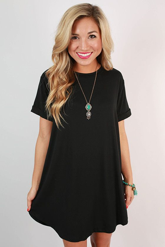 Take A Chance T-Shirt Dress in Black | Shirt dress outfit, Shirt .