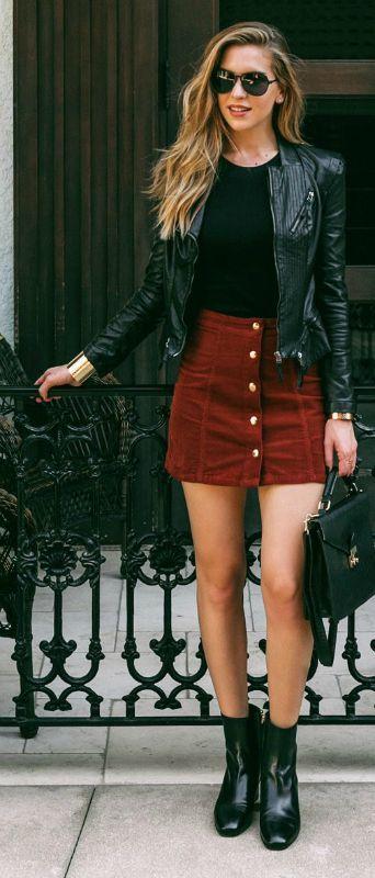 Burgundy Button Through A Line Skirt in Corduroy - US$15.95 .