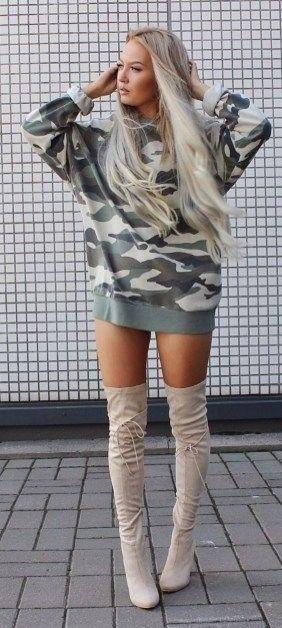 summer #style #outfitideas | Camo Hoodie Dress + Beige Overknees .