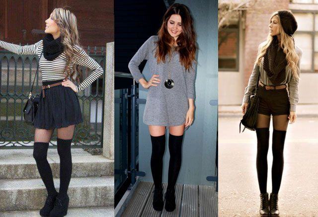 How to Wear Thigh High Socks? 12 Ways | Thigh high socks, Skirt .