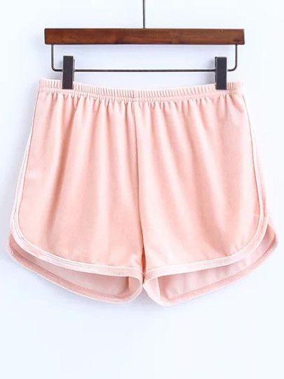 Elastic Waist Velvet Shorts $12.00 | Pantalones cortos de .