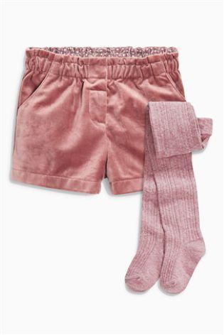 Pink Velvet Shorts And Tights Set (3mths-6yrs) | Pink velvet .