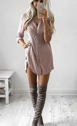 20 Beautiful Shirt Dresses Outfit Ideas (WITH PICTURE