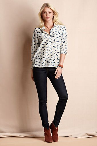 Women's Birds & Bees Popover Shirt from Lands' End Canvas .