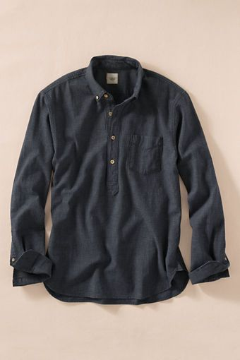 Men's Indigo Check Popover Shirt from Lands' End Canvas (With .