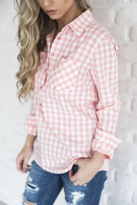 Gingham Popover - Light Pink \ pink gingham, shirt, popover shirt .