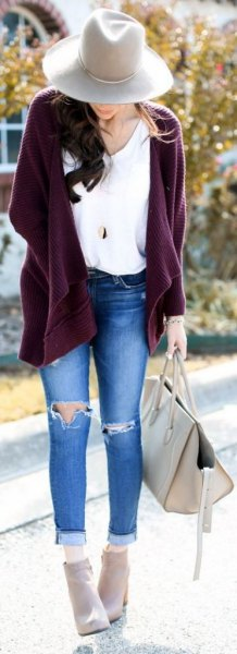 15 Best Outfit Ideas on How to Style Purple Cardigan - FMag.c