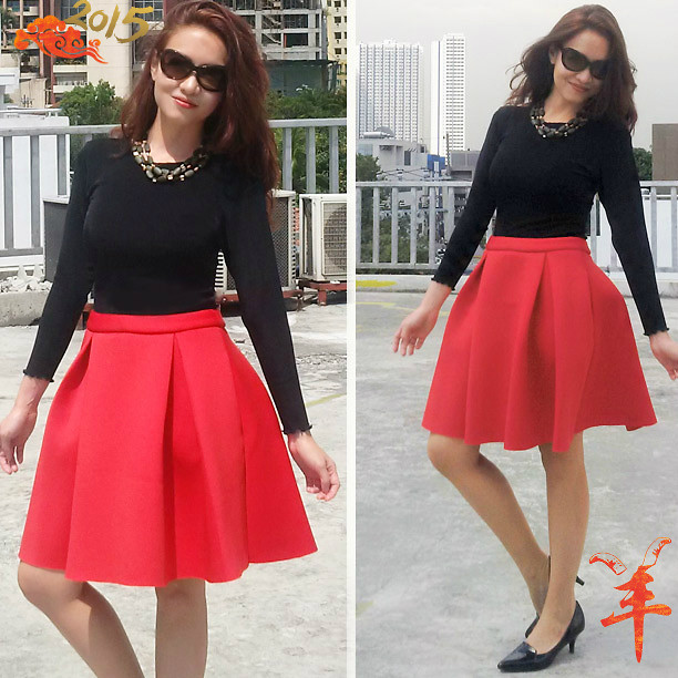 Zhina Berry - Zalora Cny Collection Red Flared Skirt, Zalora Long .