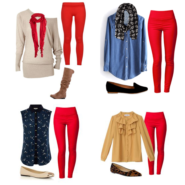How To Wear It: Bright Red Leggings - Repeat Po Bl