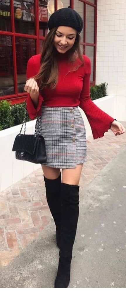 Cute red blouse and mini plaid skirt | Red skirt outfits, Plaid .