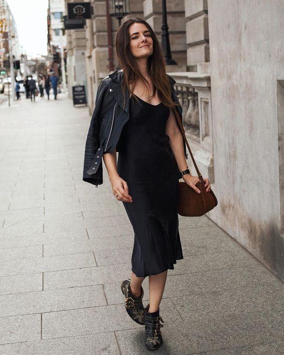 SIlk slip trends black slip dress midi beliano fall look outfit .