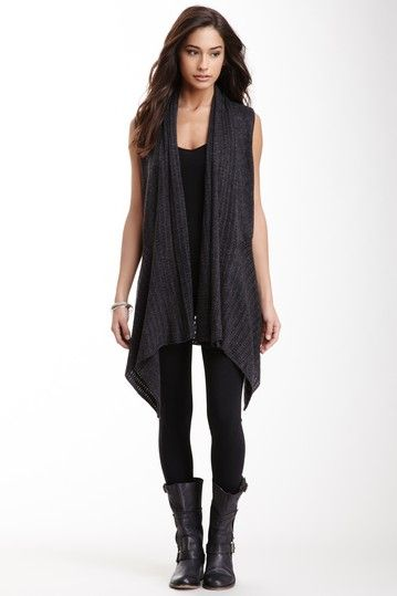 Sleeveless Draped Knit Cardigan by Miilla | Fashion, Sleeveless .