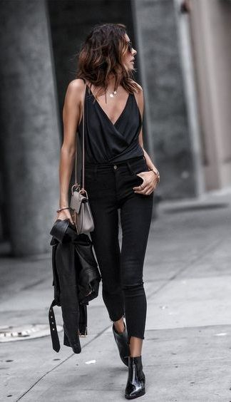 all black. wrap cami top. skinny jeans. ankle boots. leather .