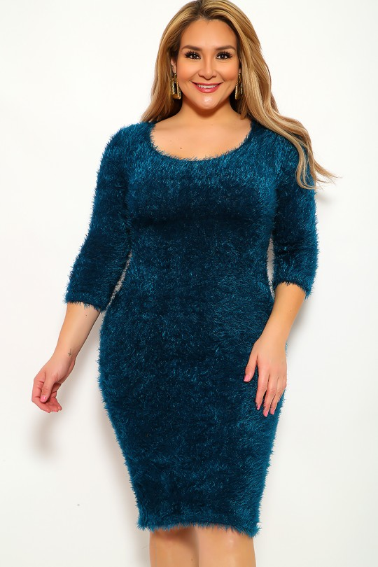 Teal Mohair Knitted Plus Size Party Outfit | Party Outfit Ideas .