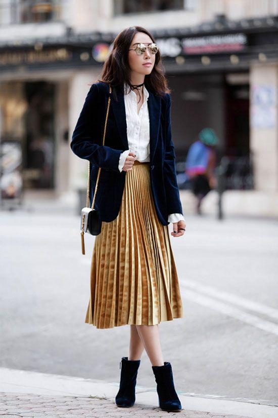 The Best Outfit Ideas Of The Week | Velvet midi skirt, Gold skirt .
