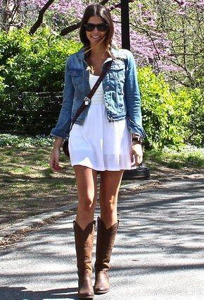Jean jacket, white baby doll dress, and knee high dark brown .