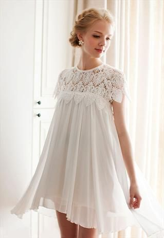 This was Ava's Bridesmaid dress!! WHITE EYELET LACE PLEATED .