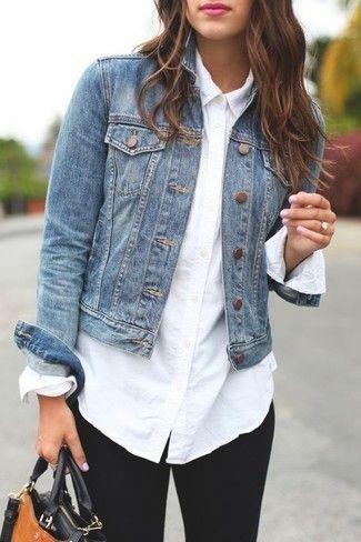 White collared shirt and denim jacket | How to wear denim jacket .