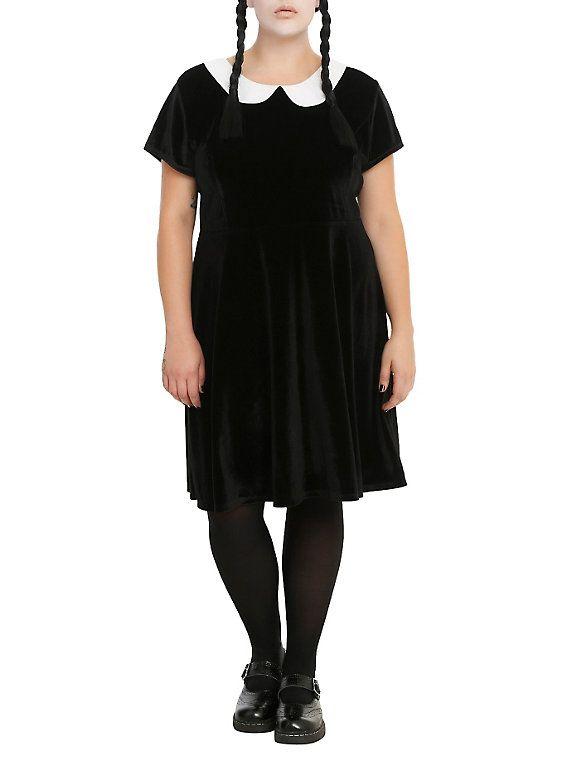 Black Velvet White Collar Dress Plus Size | White collar dress .