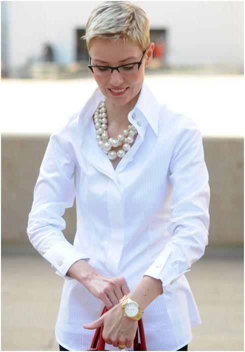 Womens White Dress Shirt French Cuffs Re Re ... | White shirt .