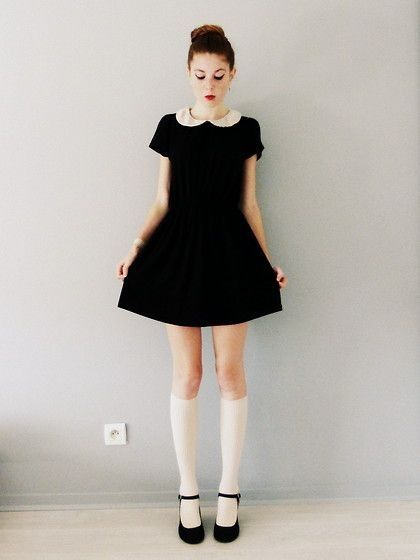 Peter Pan Collared Dress with (black instead of white) Knee High .