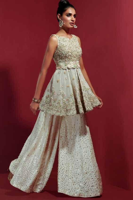Latest white Pakistani peplum dress for brides | Pakistani formal .